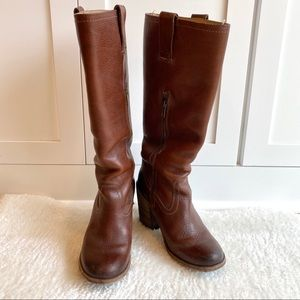Frye Alexis Stacked Heel Leather Boots Brown